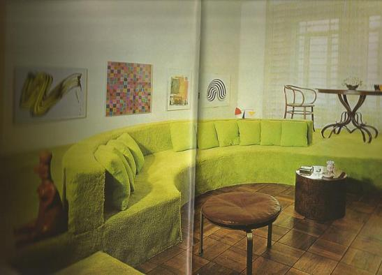 Green carpetted conversation pit